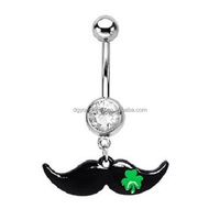 14G Mustache Belly Button Navel Ring with Four Leaf Clover