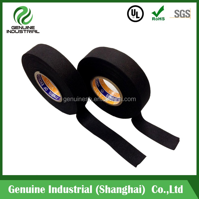 cloth wire harness polyester fleece tape 330micron Single sided fleece tape Black 19mm*15M
