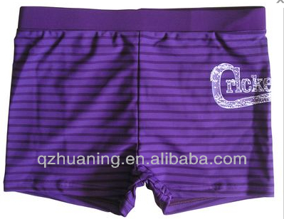Purple Strips Print Young Boys Swimwear for Children