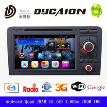 For audi a3 radio android/1024*600 digital screen ROM Built in 8G/with Ipod 3G WIFI TV FM SWC ATV GPS CD DVD Player