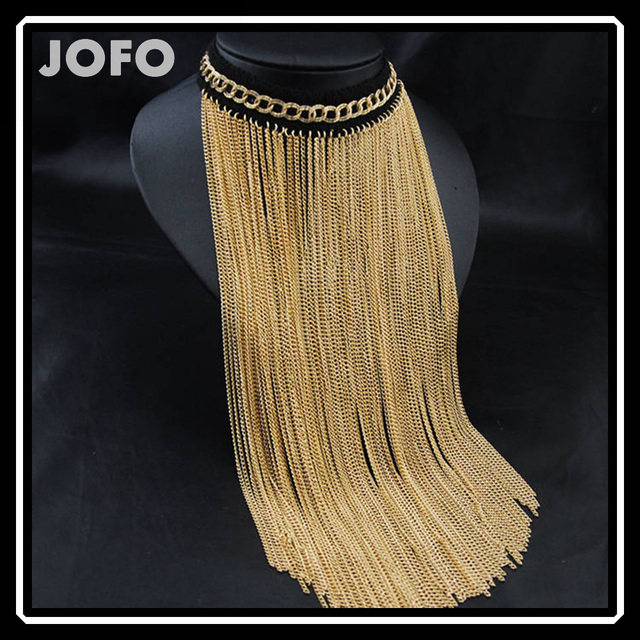 Necklaces jewelry 2017 new pure handmade dubai gold necklace with bling tassel long statement necklace
