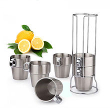 7pcs Set with Rack Stainless Steel Double Wall Coffee Mug