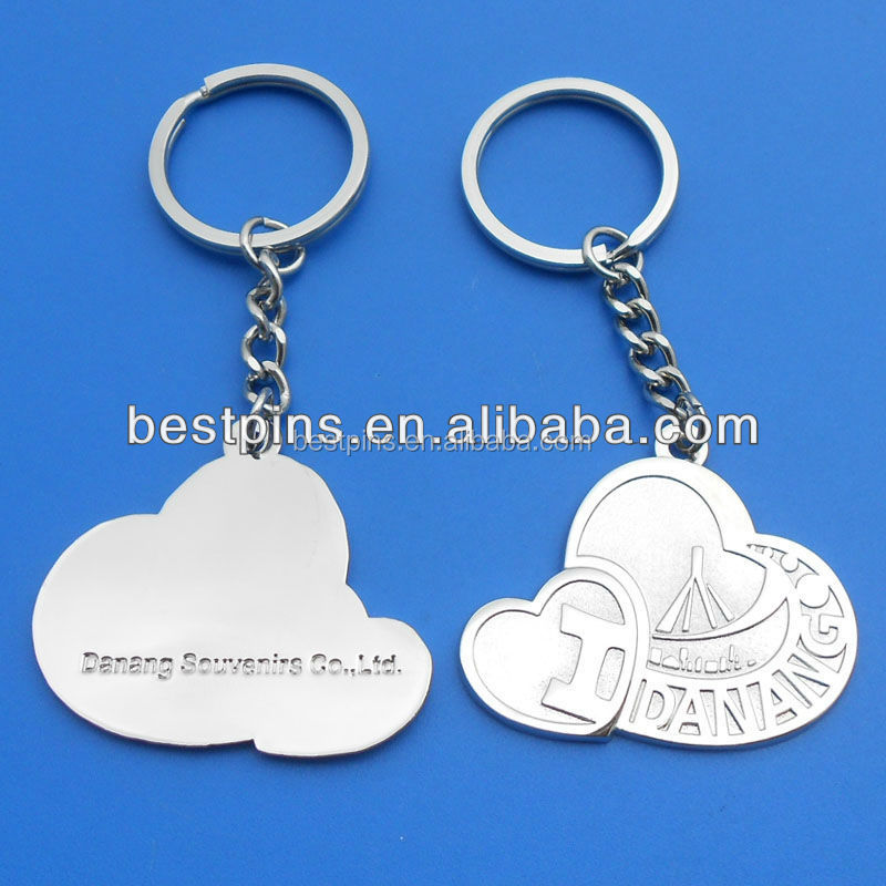 Personalized double heart shape metal silver keychain with custom logo