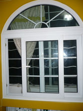 pvc arch top sliding window with grilds inside