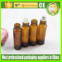 Empty 10ml Amber Micro Mini Rollon Dram Glass Bottles with Metal Roller Balls