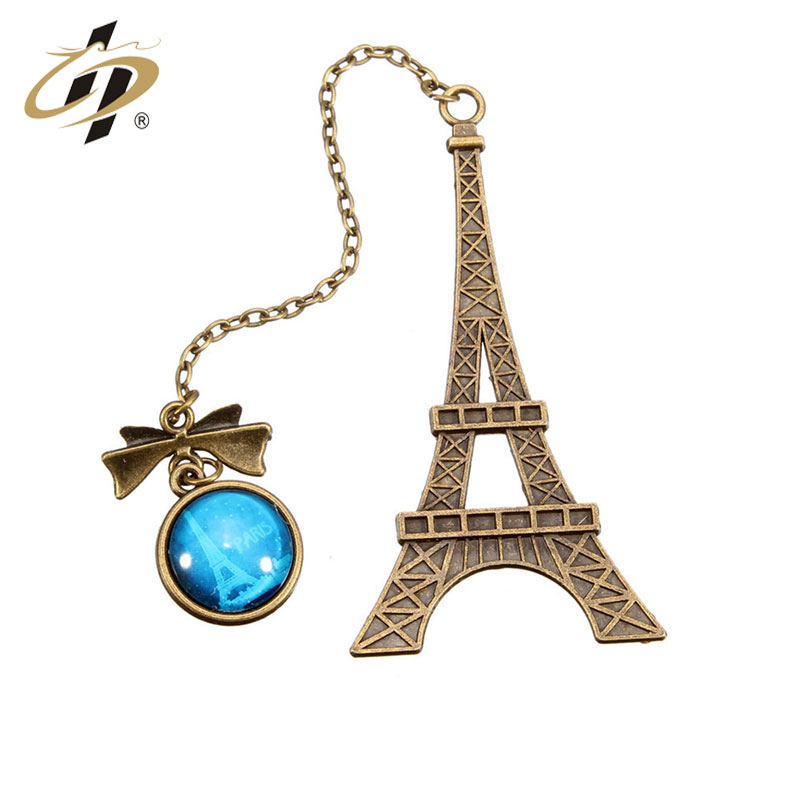 Vintage custom Wholesale cheap  Eiffel Tower brass bookmark with metal chain and pendant