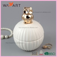 Unique White Round Shaped Ceramic Jewel Box With Owl