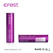 genuine efest 18650, 2600mAH purple high drain 40Amps efest 18650 high quality efest battery