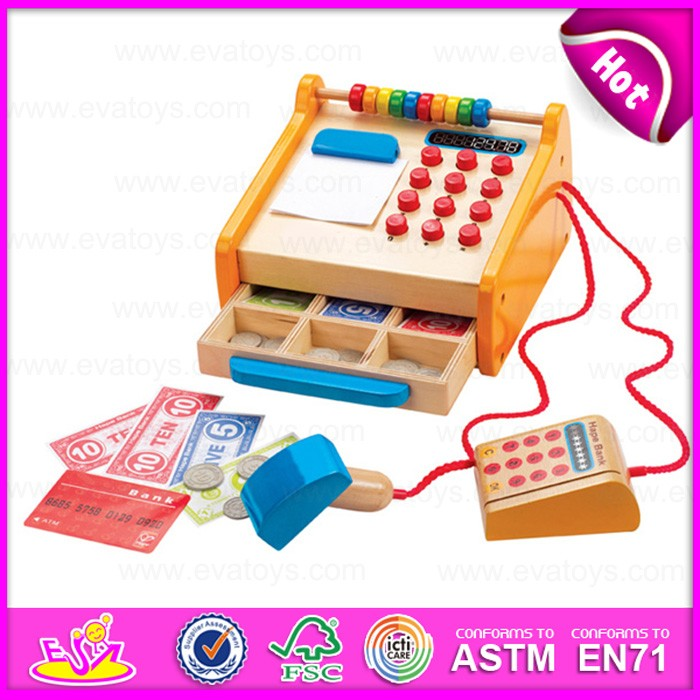 2016 newest baby wooden cash register nursery school toys W10A037-J29