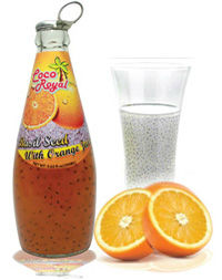 Basil seed drink with orange flavor