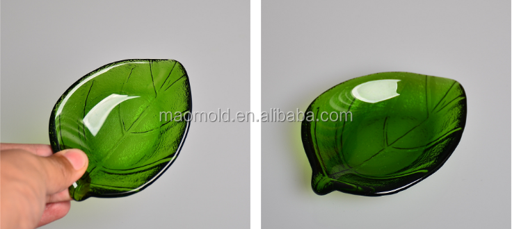 Glass pure green material small leaf shape soap dish dried fruit plate