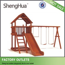 China manufacturer supply wood kids outdoor swing and slide playground equipment with SGS TUV certificate