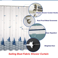 "Sailing Boat Water Repellent Fabric Shower Curtain Polyester Printing Bathroom Curtain kids shower curta72x72"" Navy White"