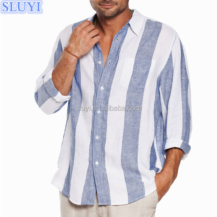 men's linen shirts 2017 wholesale long sleeve soft slim fit striped hawaiian shirts beach clothing latest shirts pattern for men