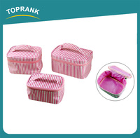 Toprank China Supplier Wholesale Women Fashionable 3PCS Custom Makeup Set Bags Hanging Plain Toiletry Travel Makeup Bag