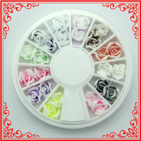 KQH066 24pcs/ wheels Soft plastic flowers Big Size Nail Beauty Supplies Stickers Accessory Wheels Nail Art designs