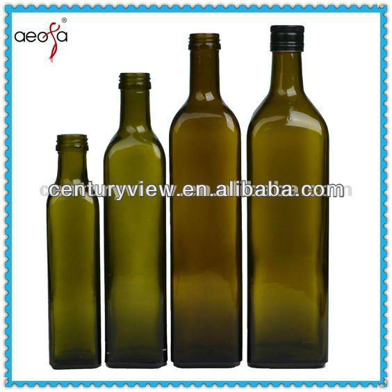 square shaped antique green small bottles for olive oil
