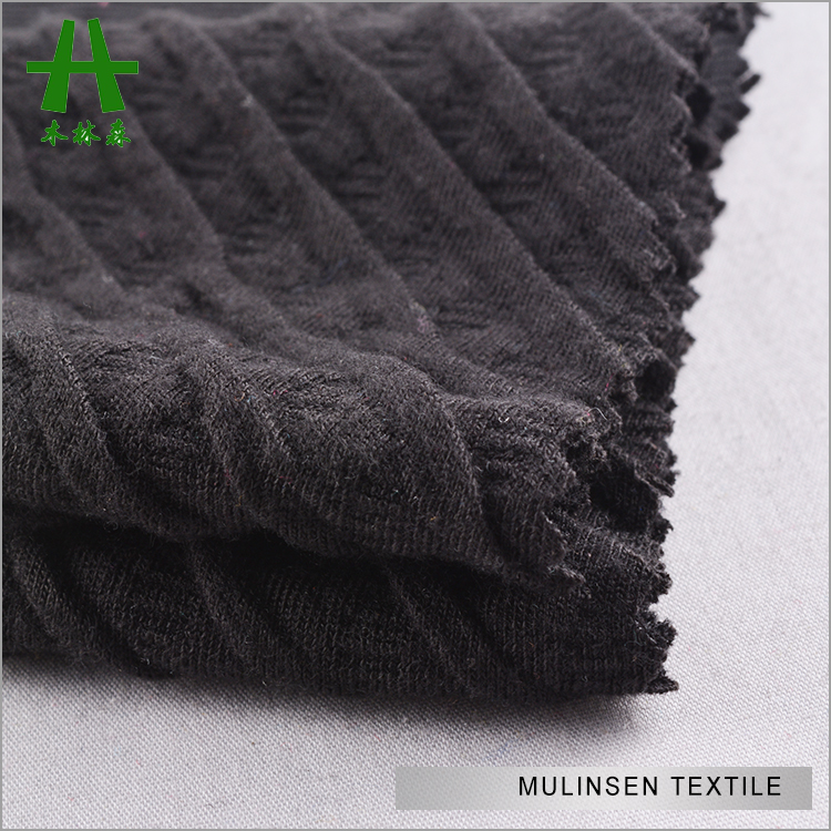 Mulinsen Textile Double Knit Polyester Spandex Solid Color Thick Crepe Jacquard Fabric