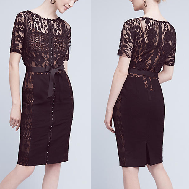 Hot sale fashion perspective bridesmaid Black short lace bodycon dress