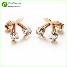 Latest model cherry shaped new ear studs fashion gold earring R4-0127