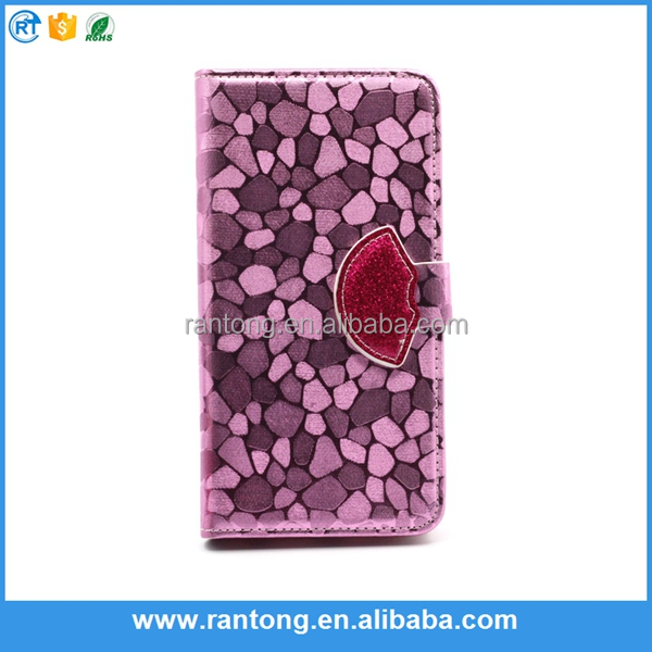 Luxury colorful bling mouth design mobile phone leather flip case for iPhone 6