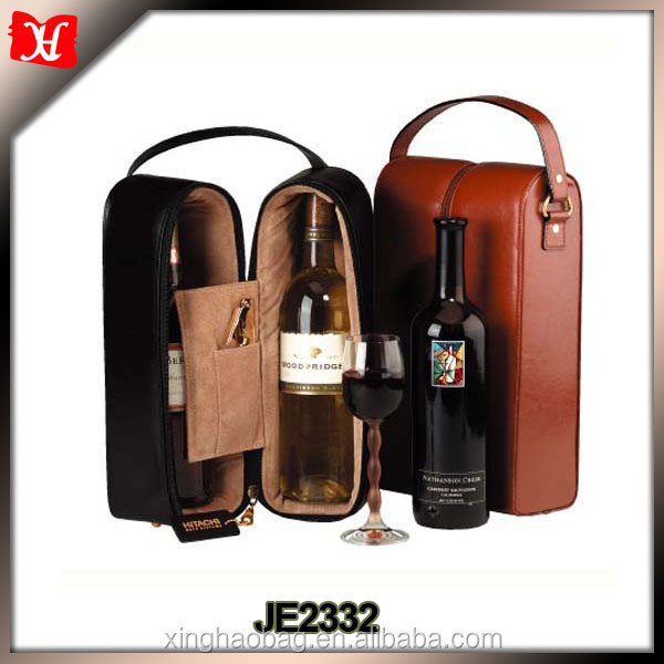 Luxury Portable wine box Bottle carriers Leather Connoisseur Wine Carrier