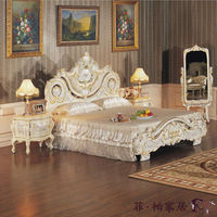 european style bedroom furnitures - luxury hand carving bed-hand carved bedroom furniture sets