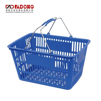 Plastic supermarket shopping basket with steel handle