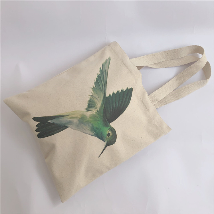 Fashion style heat transfer printing recyclable cotton shopping bag