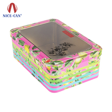 Tin Boxes Manufacturer Gift Chocolate Storage Biscuit Cookie Candy Metal Container Packing With Window and Silver Hinged Lid