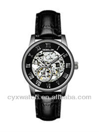 2013 Debolon Men's Skeleton Stainless Steel Design Japan Citizen Movement Watches with Black Leather Band