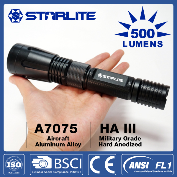 STARLITE 500 lumens rechargeable cree led police 5w flashlight