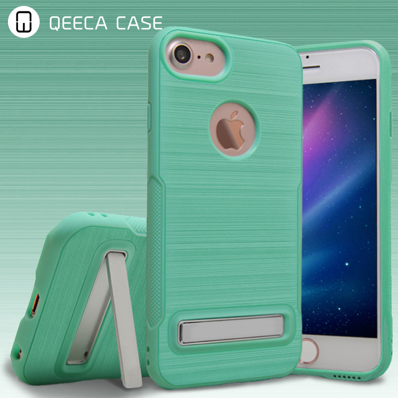 Shockproof protective hybrid rugged brush tough armor back stand case cover for iphone 6 7