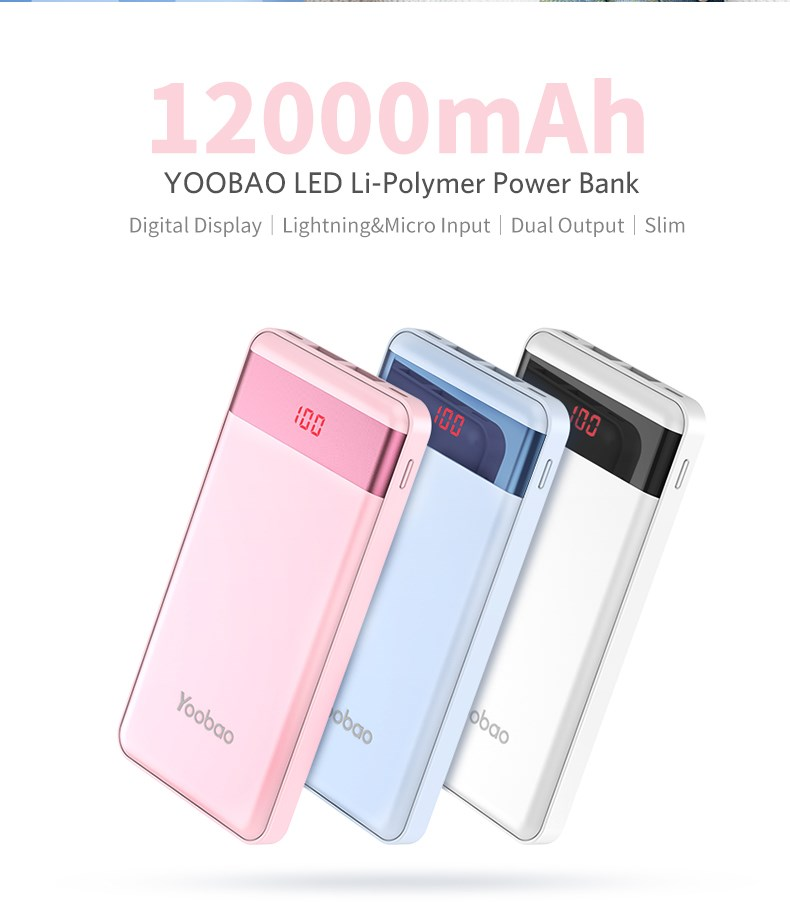 Yoobao LED screen power bank 12000mah for smart phone