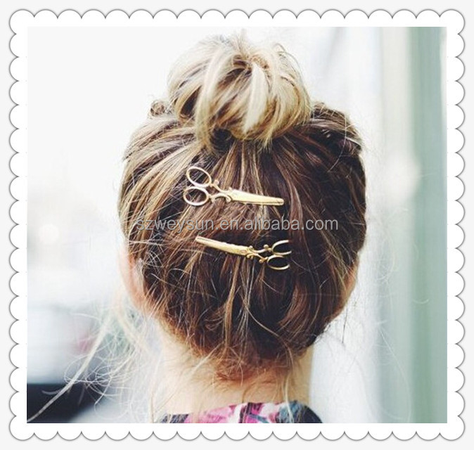 Chic Scissors Shape Hair Clip Gold/Silver Hair Pin Women Accessory Barrettes Headwear Head Girl Jewelry Gifts