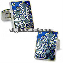 Flawer Pattern Enamel Metal Cufflinks