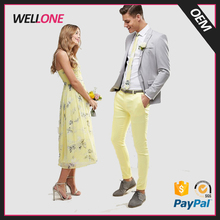 Wellone hot sale OEM logo many color pattern cotton material yellow slim fit casual style men custom picture of pant and shirt