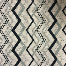 Geometric Pattern Wavy Mesh Glitters Flocked Fabric