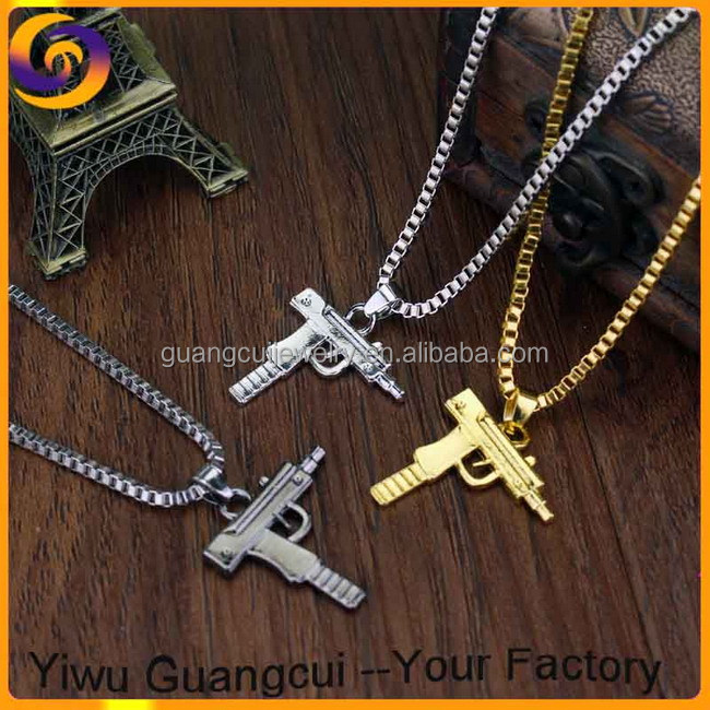 Metal different color gun pendant necklace