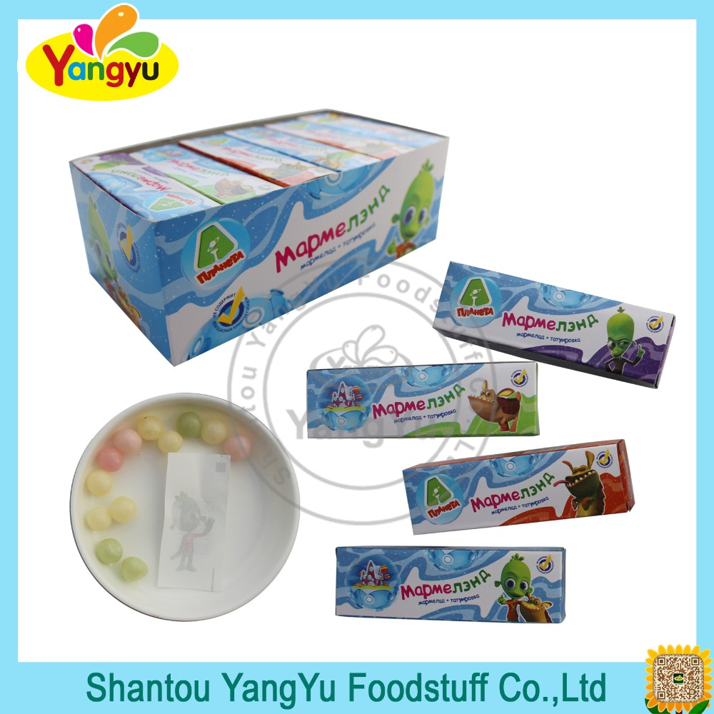 Halal Fruity Candy with Tattoo Round Gummy Soft Jelly Candy