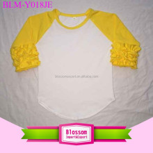 Children cotton icing ruffle yellow sleeve blank waist curved t-shirt baby boy raglan tee baseball girl t-shirt for size 0-10 T