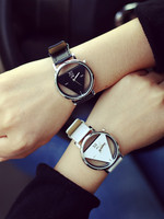 Simple Triangle Cute Couple Watch With PU Leather Strap