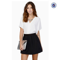 2016 summer fashion design latest ladies formal skirt and blouse plain white cotton tshirts