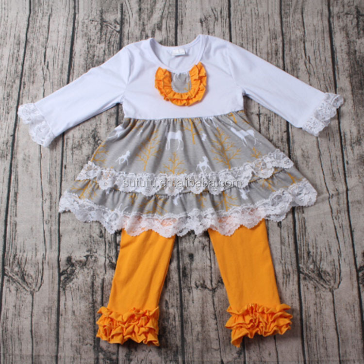 SUE LUCKY baby clothing manufacture wholesale boutique baby girl clothes whtie with lace ruffles dress and icing pants