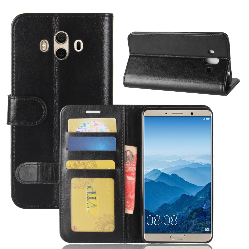 Oil Wax Skin Genuine leather cell phone cover case for huawei mate 10 mobile <strong>accessories</strong> with card slots
