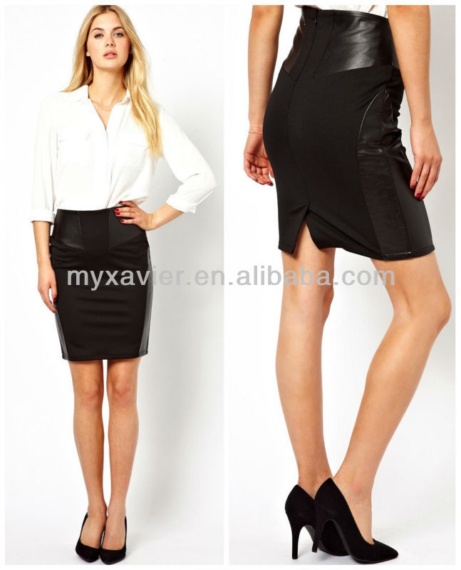 Leather Look Formal Pencil Skirts Wear Women Designs(s2096) - Buy ...