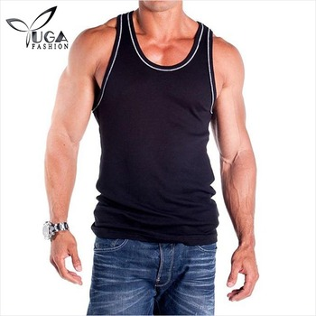 Custom Mens Workout Clothes 2 x 1 Contrast RIB Workout Tank Top