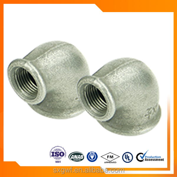 ISO 9001 curling female threaded cast iron fitting 90 R