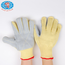 High quality 7G aramid fiber glove with cow split leather sewn between thumb and index finger