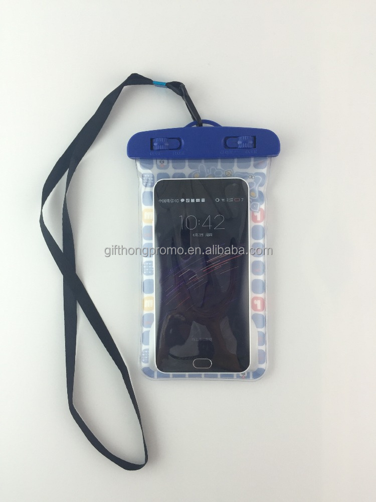 pvc waterproof cell phone case bag for mobile , underwater waterproof diving bag